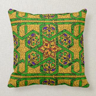 Trabajo del nudo del verde y del oro de jade cojín decorativo