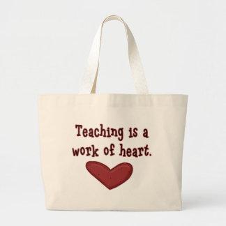 Trabajo del profesor del corazón bolsa tela grande