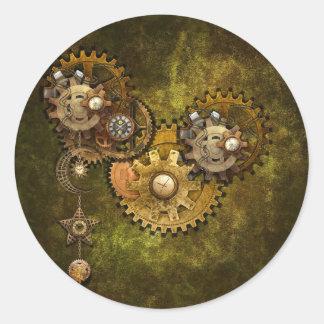 Trabajo del reloj pegatina redonda