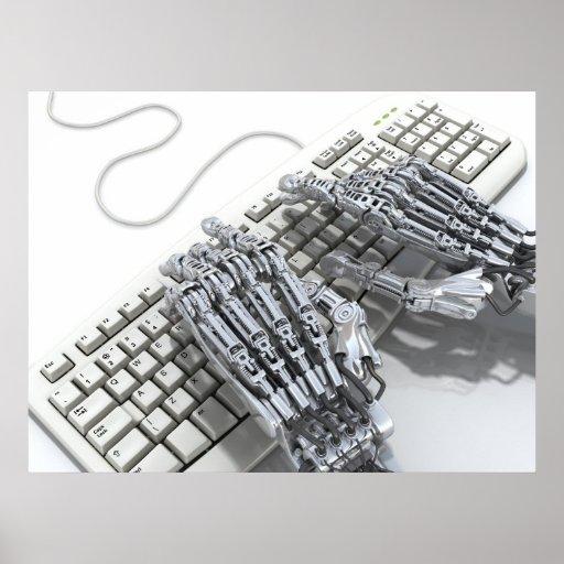Trabajo del robot sobre el ordenador posters