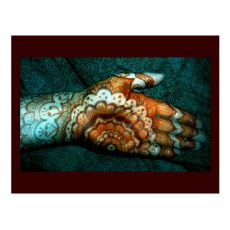 Trabajo del tatuaje de la alheña de Bajidoo Tarjeta Postal