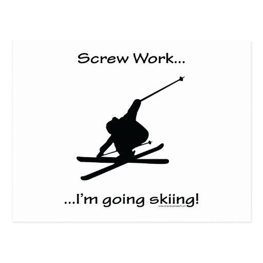 Trabajo del tornillo, soy esquí que va postal