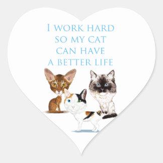 Trabajo difícilmente pegatina en forma de corazón