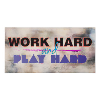 Trabajo difícilmente y poster de motivación duro d