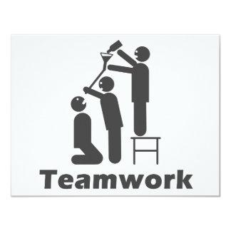 """Trabajo en equipo - mercancía de motivación invitación 4.25"""" x 5.5"""""""