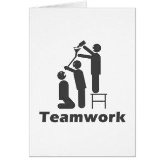 Trabajo en equipo - mercancía de motivación tarjeta de felicitación