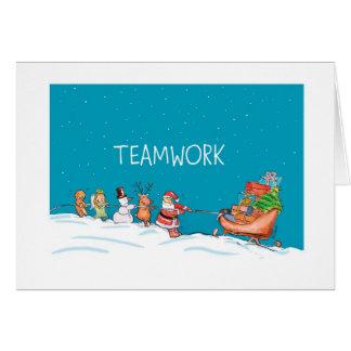 Trabajo en equipo - navidad - 2013 tarjeta de felicitación