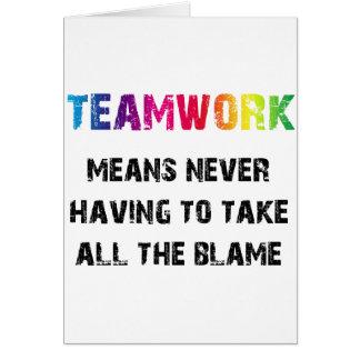 Trabajo en equipo tarjeta de felicitación