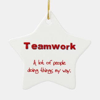 ¡Trabajo en equipo! ¡Todos que hacen cosas MI Adorno Navideño De Cerámica En Forma De Estrella