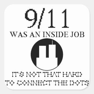trabajo interior 911 pegatina cuadrada