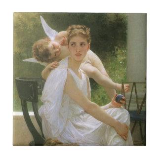 Trabajo interrumpido por Bouguereau, arte del Azulejos