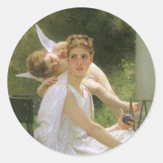 Trabajo interrumpido por Bouguereau, arte del Pegatinas Redondas