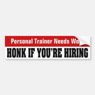 Trabajo personal de las necesidades del instructor etiqueta de parachoque