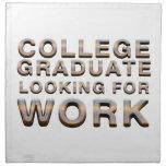 Trabajo que busca graduado de la universidad de la servilletas de papel