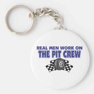 Trabajo real de los hombres sobre el equipo en box llavero redondo tipo pin