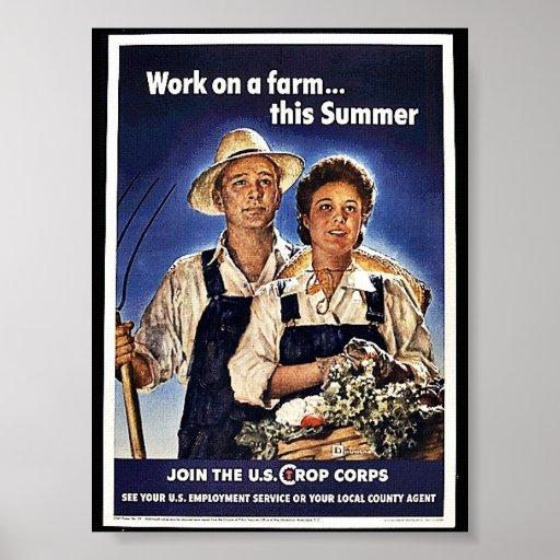 Trabajo sobre una granja este verano poster