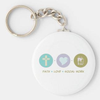 Trabajo social del amor de la fe llavero
