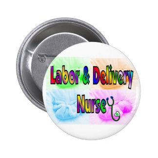 Trabajo y enfermera de la entrega pin redondo de 2 pulgadas