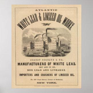 Trabajos atlánticos de la ventaja blanca y del ace poster