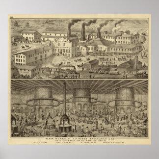 Trabajos de cristal de JH Hobbs y Brockunier Poster