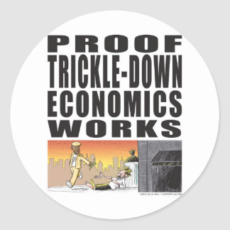 Trabajos de goteo de la economía de la prueba pegatina redonda