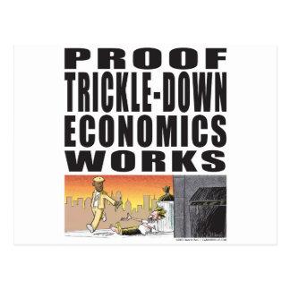 Trabajos de goteo de la economía de la prueba postales