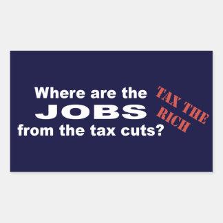 ¿Trabajos de las reducciones de impuestos? Pegatina Rectangular