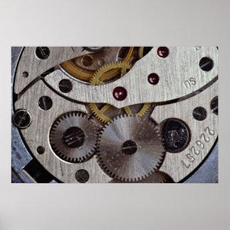 Trabajos de una textura del reloj de bolsillo poster