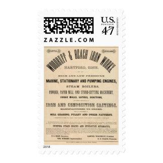 Trabajos del hierro de la aspérula y de la playa sello postal