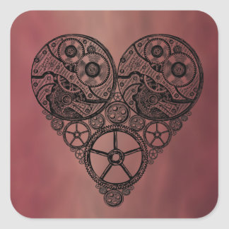 Trabajos del reloj de Steampunk y corazón del Pegatina Cuadradas Personalizadas