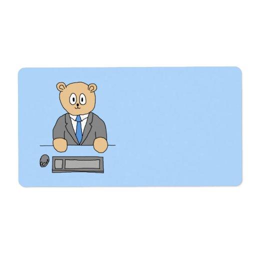 Trabajos en una oficina. Lazo azul Etiqueta De Envío