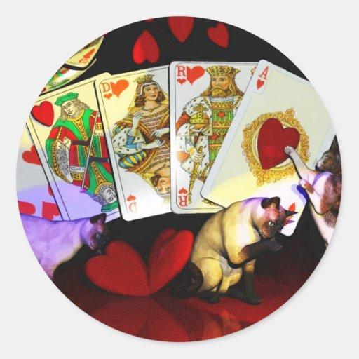 Trabajos forzados de los gatos del póker de Lenny Pegatinas Redondas