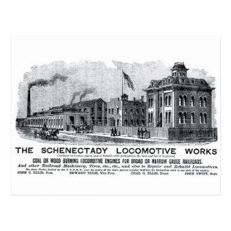 Trabajos locomotores de Alco-Schenectady, 1870 Postal
