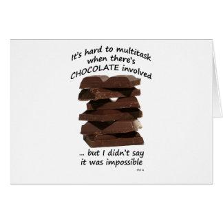 Trabajos múltiple con el chocolate tarjeta de felicitación