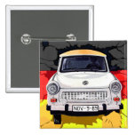 Trabant Car and German Flag, Berlin Wall 2 Inch Square Button