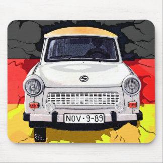 Trabant Car and German Flag, Berlin Wall Mouse Pad