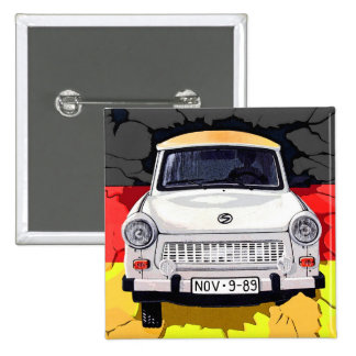 Trabant Car and German Flag, Berlin Wall Pinback Button