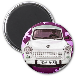 Trabant Car and Pink/Lilac Berlin Wall 2 Inch Round Magnet