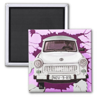 Trabant Car and Pink/Lilac Berlin Wall 2 Inch Square Magnet