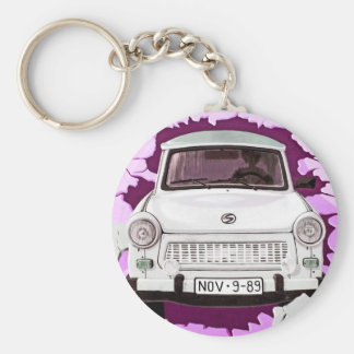 Trabant Car and Pink/Lilac Berlin Wall Basic Round Button Keychain
