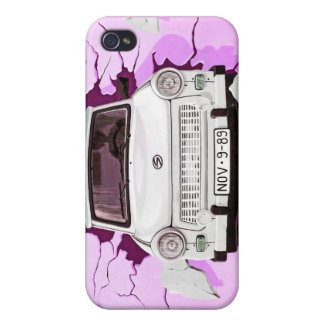 Trabant Car and Pink/Lilac Berlin Wall Cover For iPhone 4