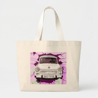 Trabant Car and Pink/Lilac Berlin Wall Large Tote Bag