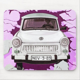 Trabant Car and Pink/Lilac Berlin Wall Mouse Pad
