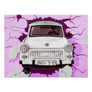 Trabant Car and Pink/Lilac Berlin Wall Poster