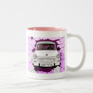 Trabant Car and Pink/Lilac Berlin Wall Two-Tone Coffee Mug