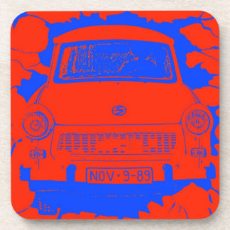 Trabant Car and Red/Blue Berlin Wall Coaster