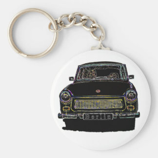 Trabant Car , Black Outlined, Front View Basic Round Button Keychain