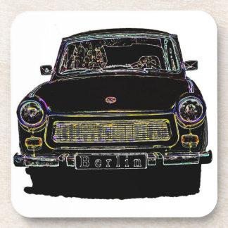 Trabant Car , Black Outlined, Front View Beverage Coaster