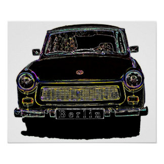 Trabant Car , Black Outlined, Front View Print