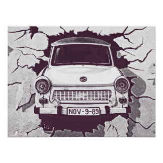 Trabant Car , Black & White, Berlin Wall (1) Poster